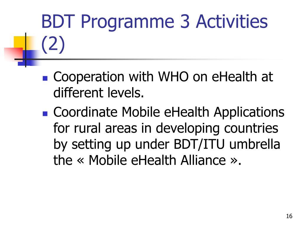 BDT Programme 3 Activities (2)