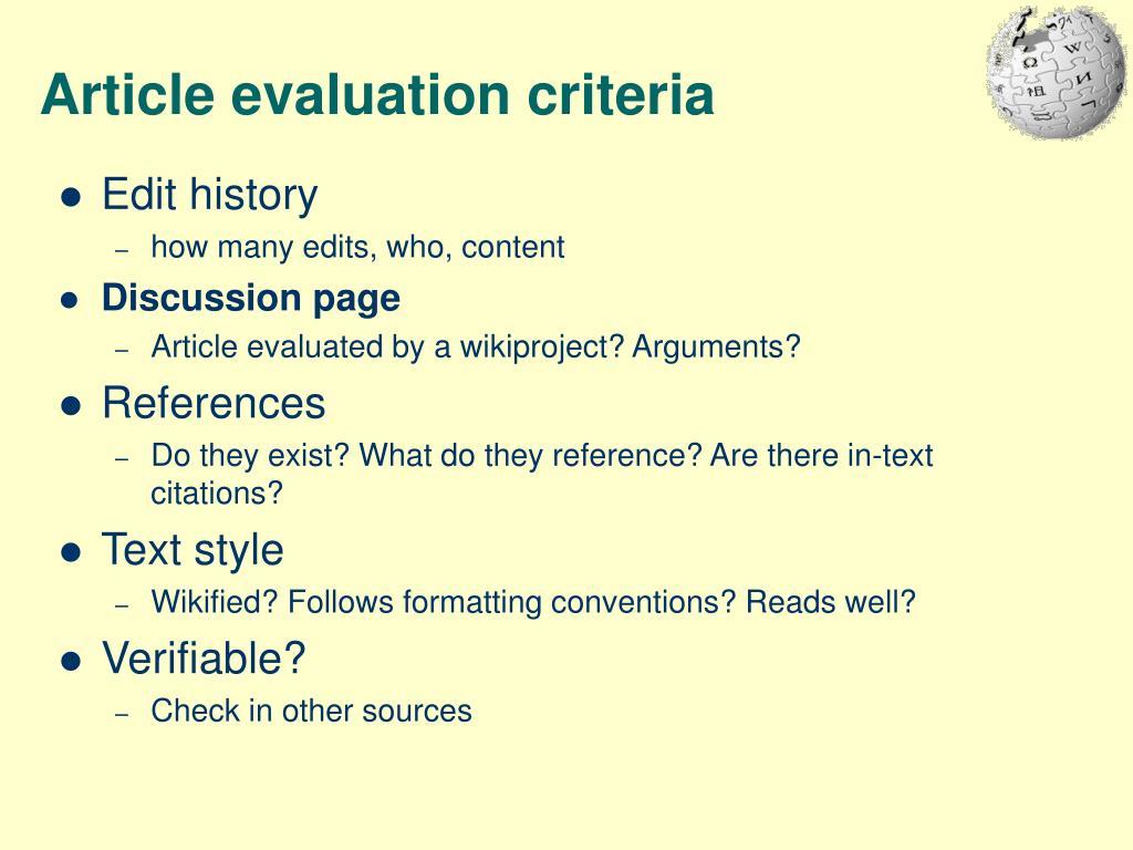 Article evaluation criteria