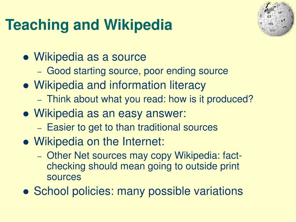 Teaching and Wikipedia