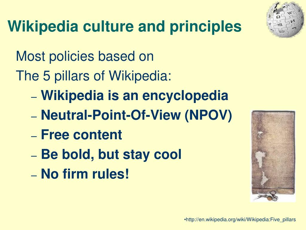 Wikipedia culture and principles
