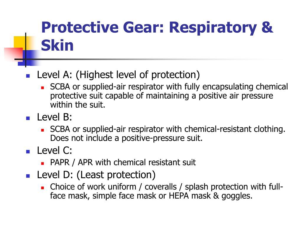 Protective Gear: Respiratory & Skin