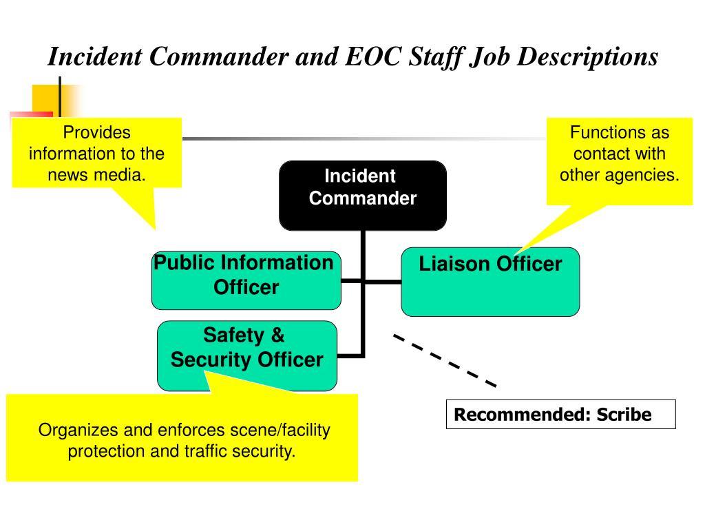 Incident Commander and EOC Staff Job Descriptions