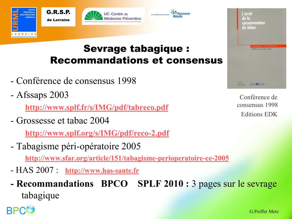 PPT - CONSEIL MINIMAL et AIDE AU SEVRAGE TABAGIQUE