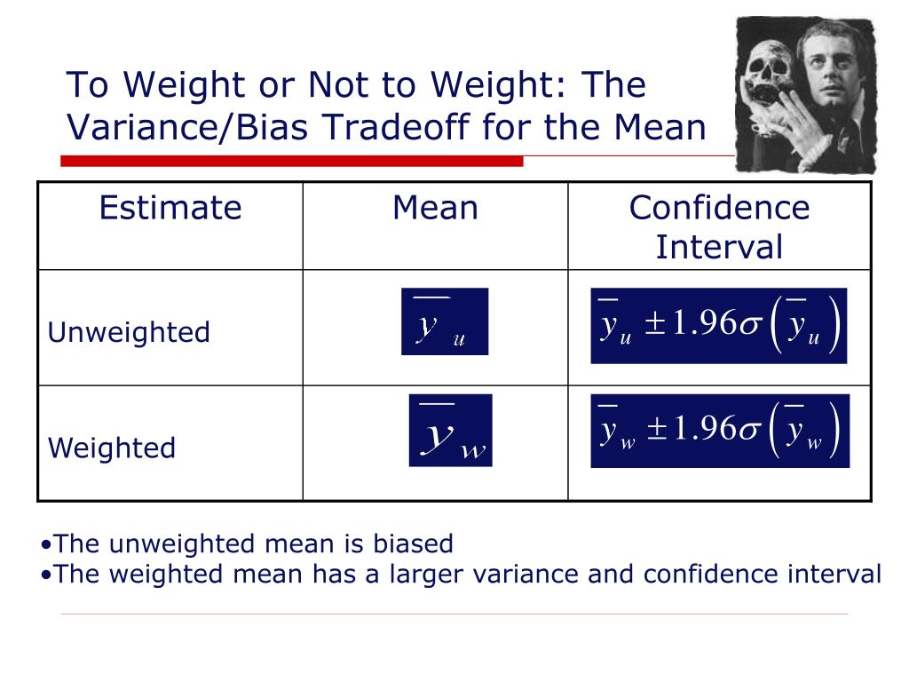 To Weight or Not to Weight: The Variance/Bias Tradeoff for the Mean