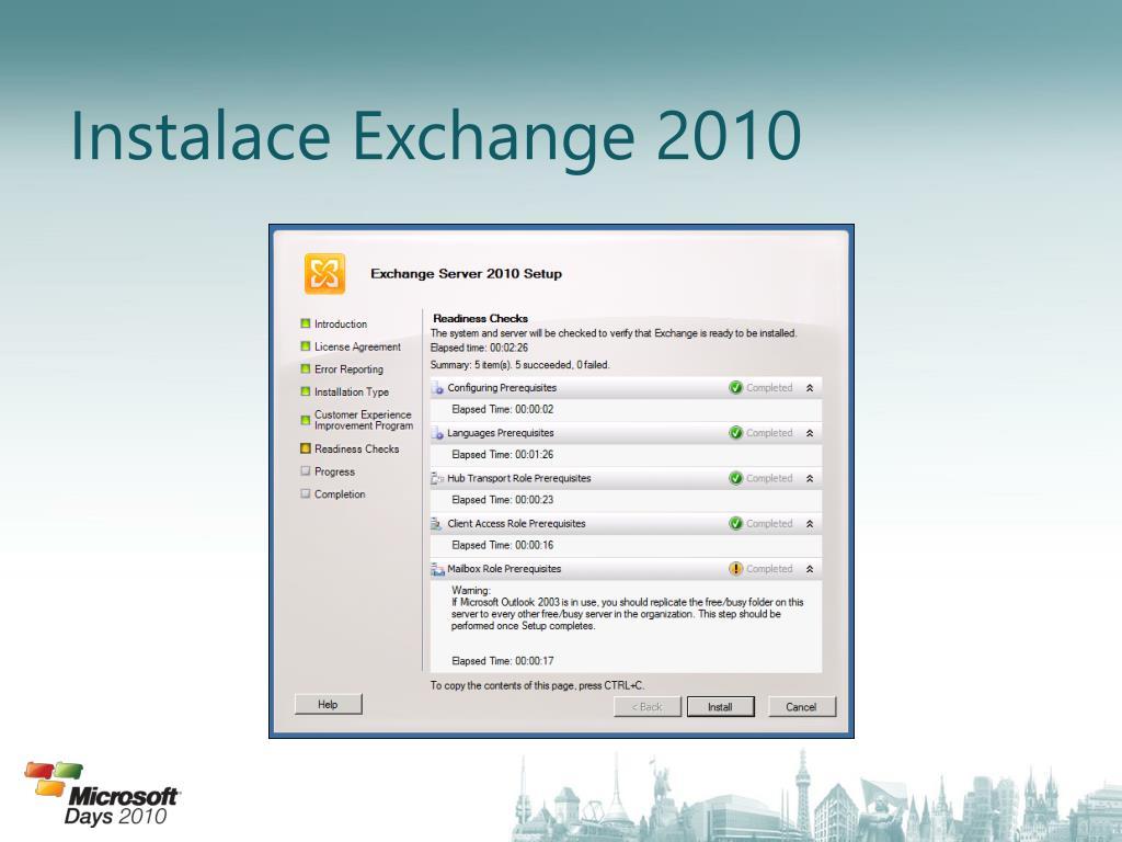 Instalace Exchange 2010