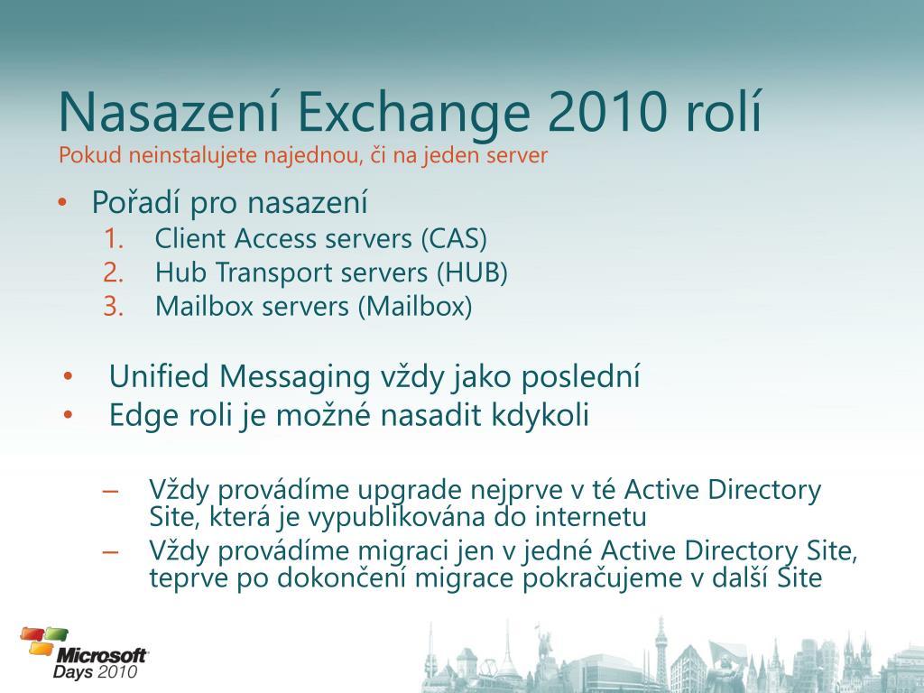 Nasazení Exchange 2010 rolí