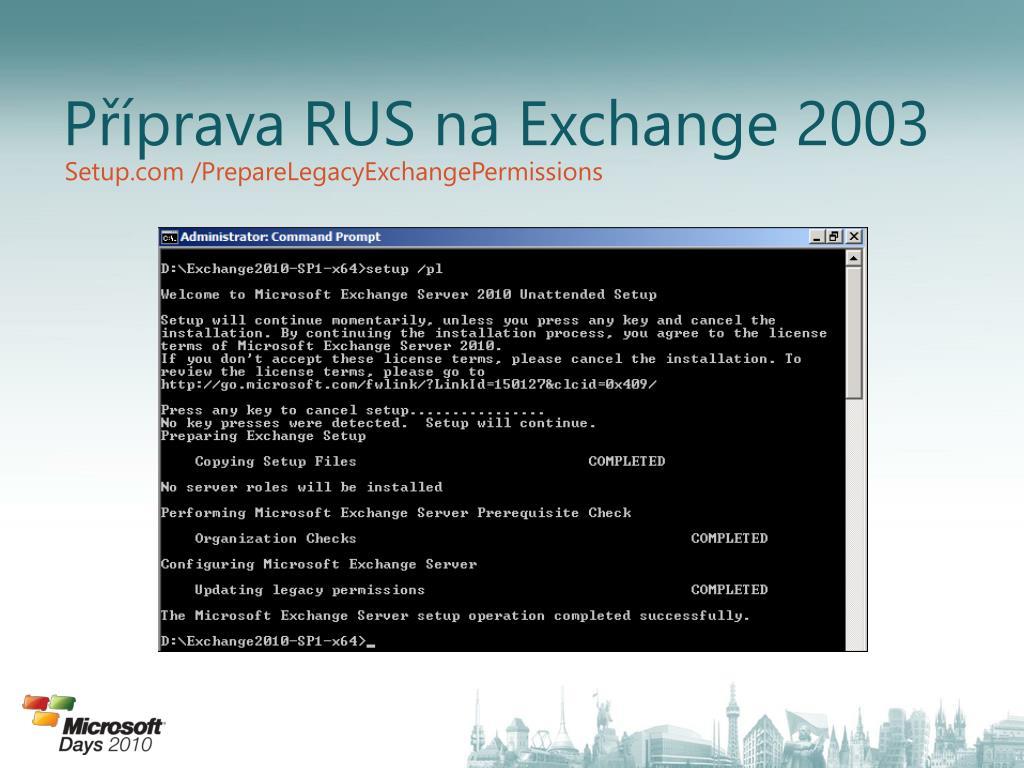 Příprava RUS na Exchange 2003