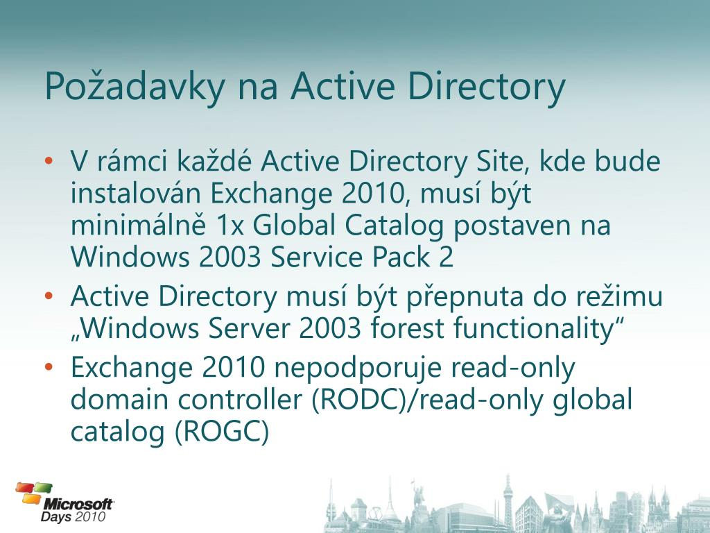 Požadavky na Active Directory
