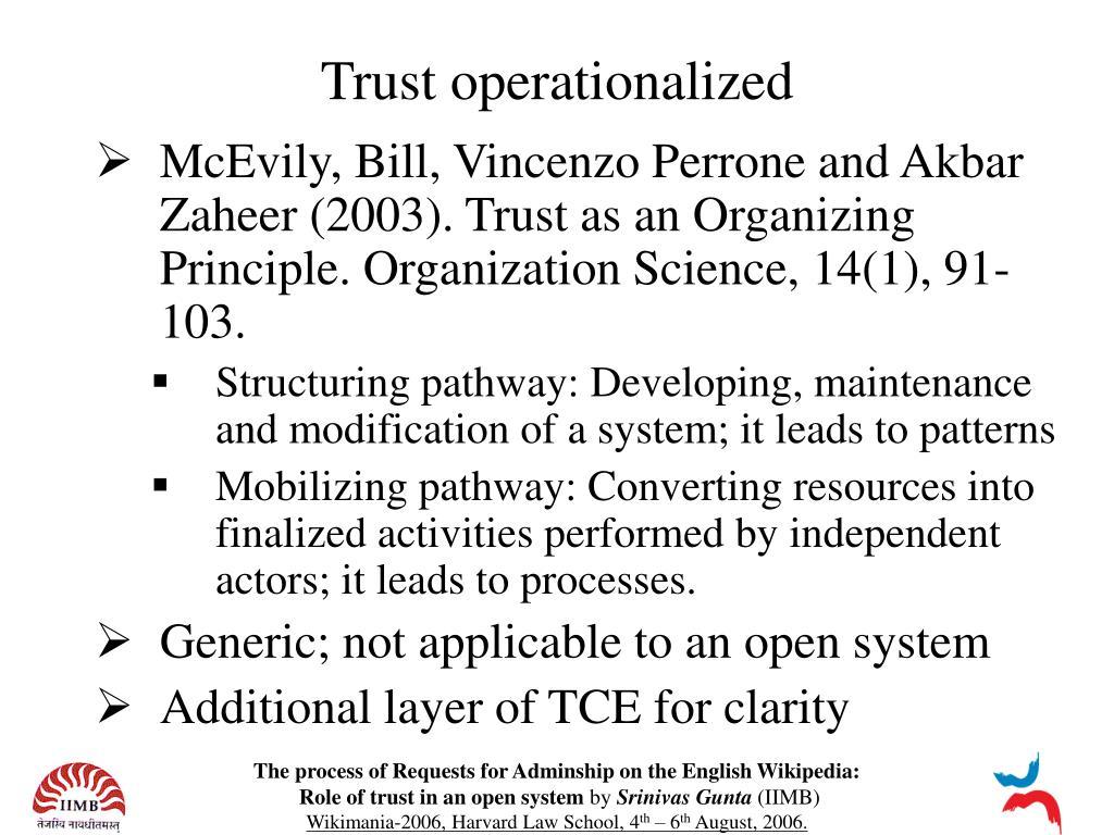 Trust operationalized
