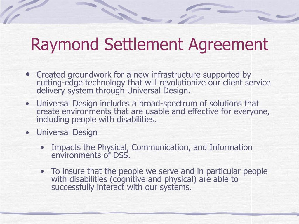 Raymond Settlement Agreement