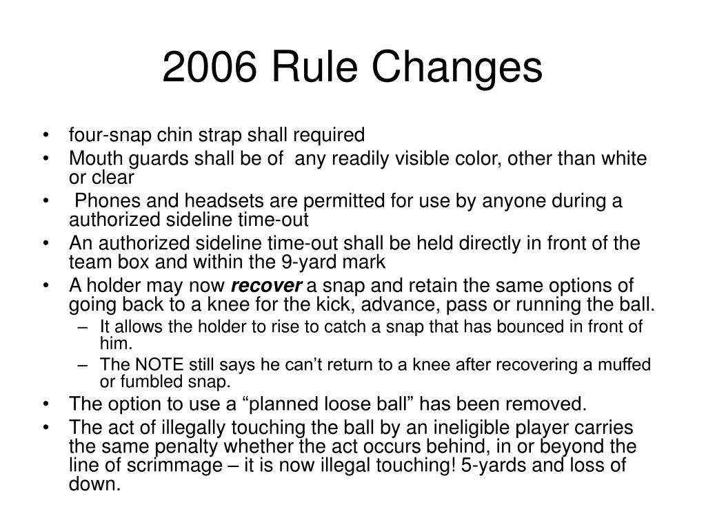 2006 Rule Changes