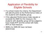 application of flexibility for eligible schools
