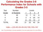 calculating the grades 3 8 performance index for schools with grades 3 5
