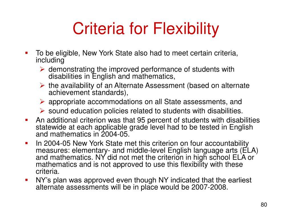 Criteria for Flexibility
