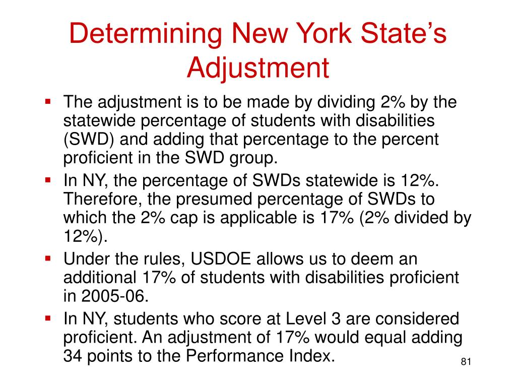 Determining New York State's Adjustment
