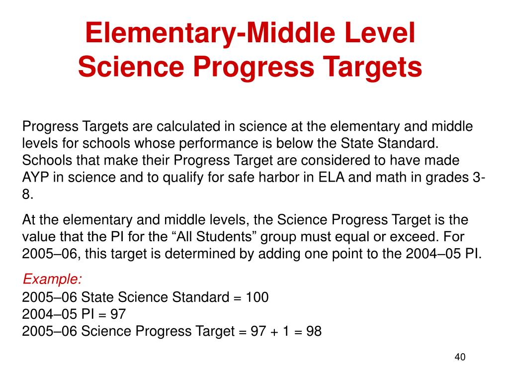Elementary-Middle Level Science Progress Targets