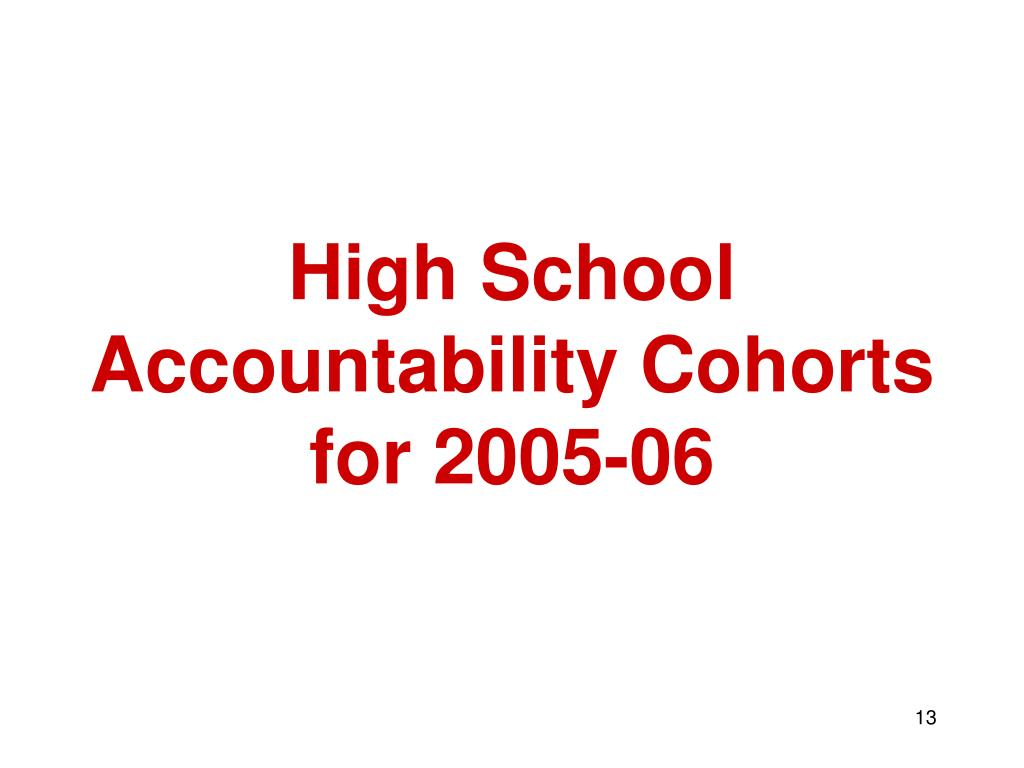High School Accountability Cohorts for 2005-06
