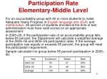 participation rate elementary middle level