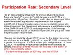 participation rate secondary level