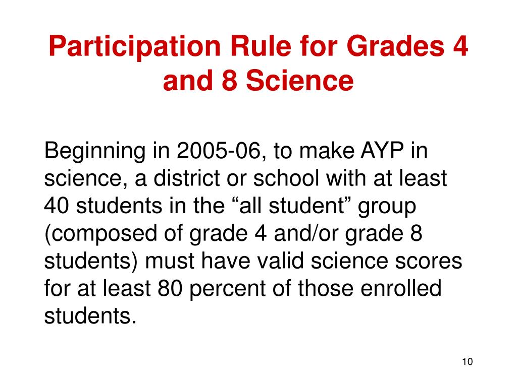 Participation Rule for Grades 4 and 8 Science