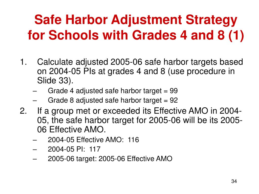 Safe Harbor Adjustment Strategy for Schools with Grades 4 and 8 (1)