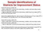 sample identifications of districts for improvement status