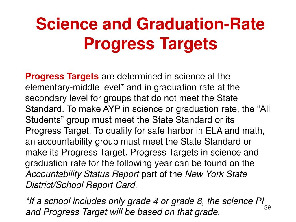 Science and Graduation-Rate Progress Targets