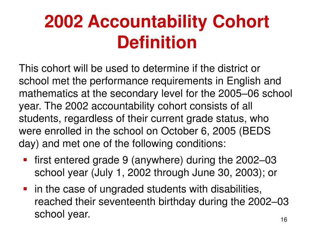 2002 Accountability Cohort Definition
