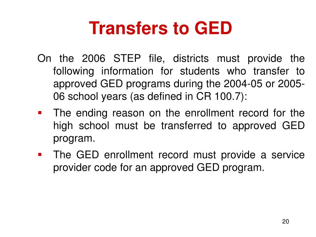 Transfers to GED