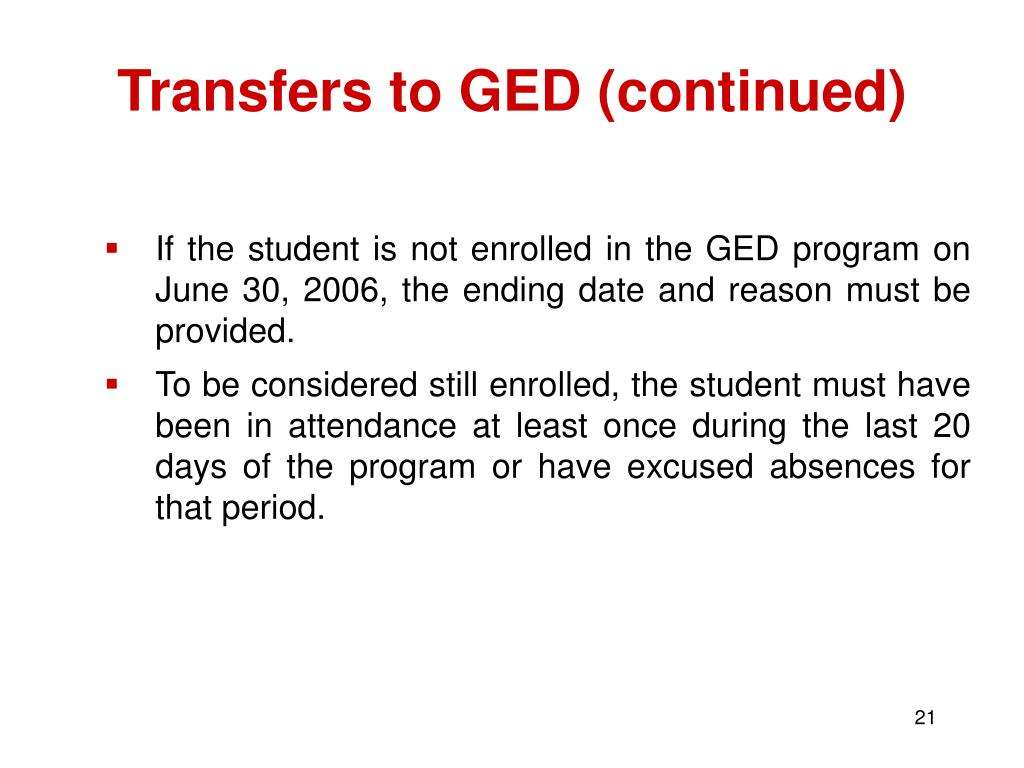Transfers to GED (continued)