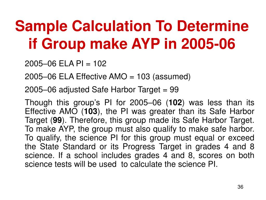 Sample Calculation To Determine if Group make AYP in 2005-06