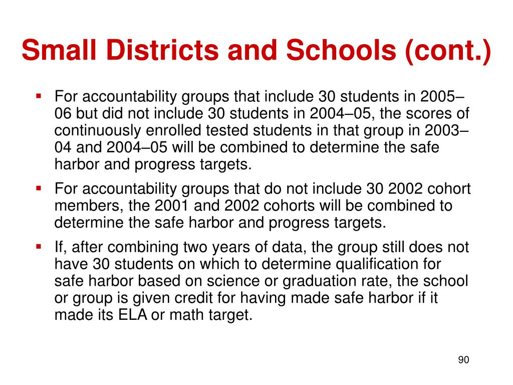 Small Districts and Schools (cont.)