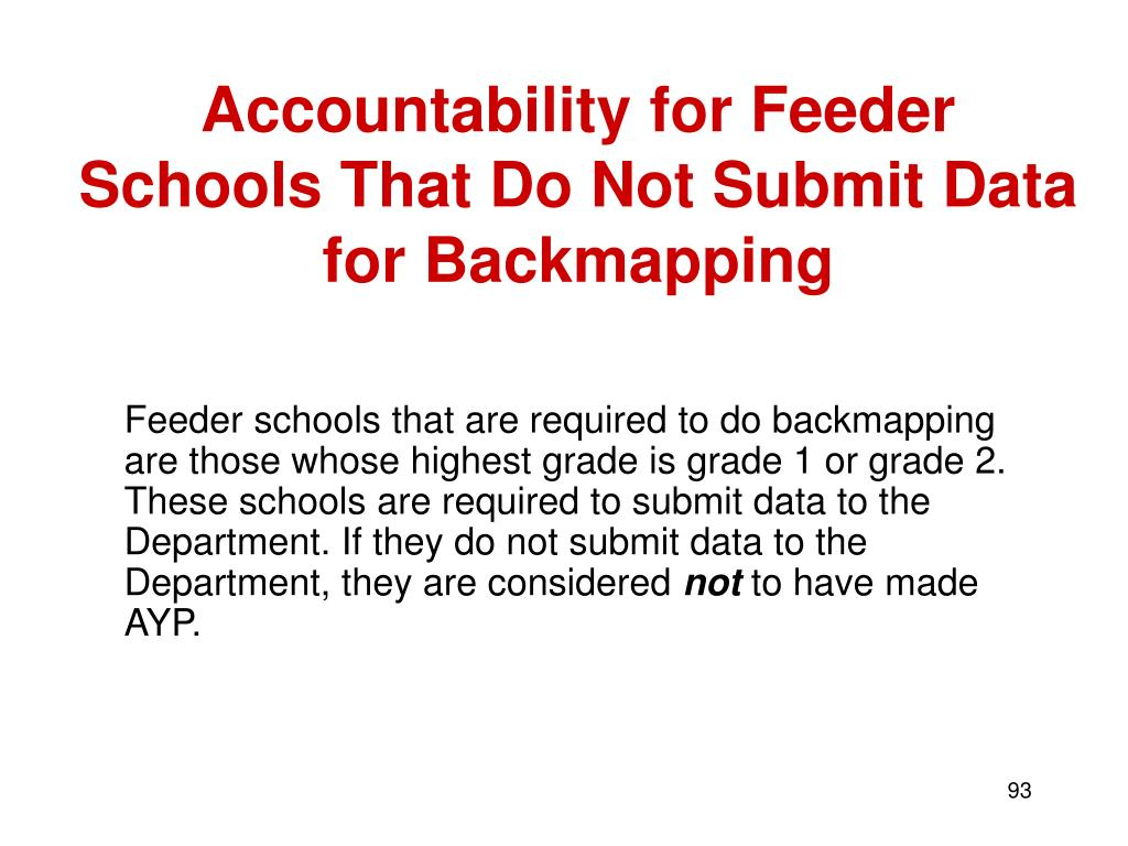Accountability for Feeder Schools That Do Not Submit Data for Backmapping