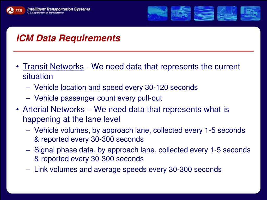 ICM Data Requirements