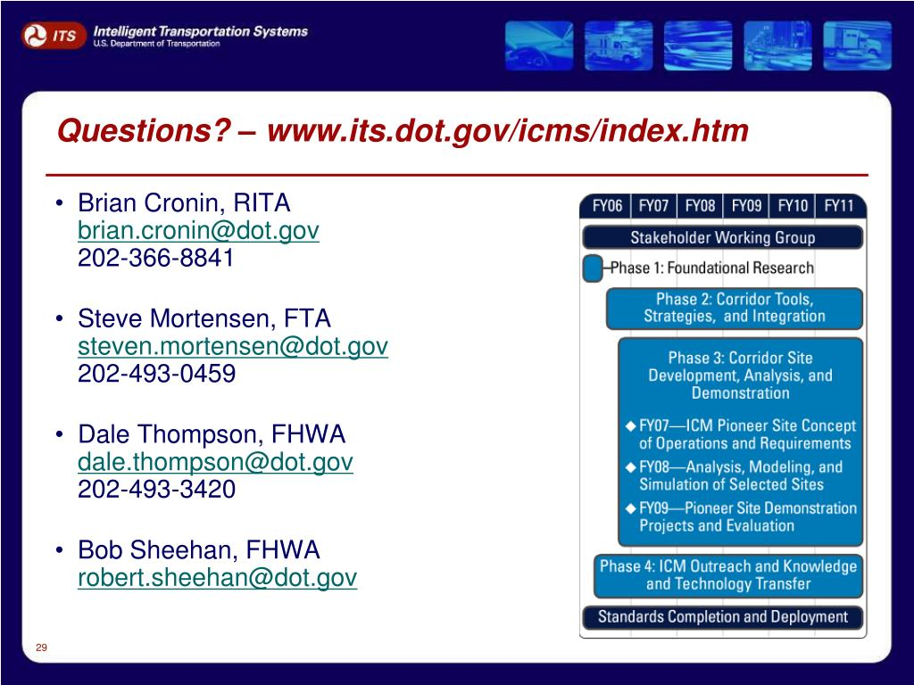 Questions? – www.its.dot.gov/icms/index.htm