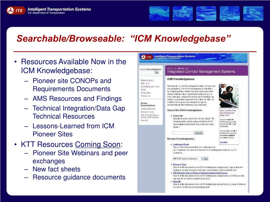 "Searchable/Browseable:  ""ICM Knowledgebase"""