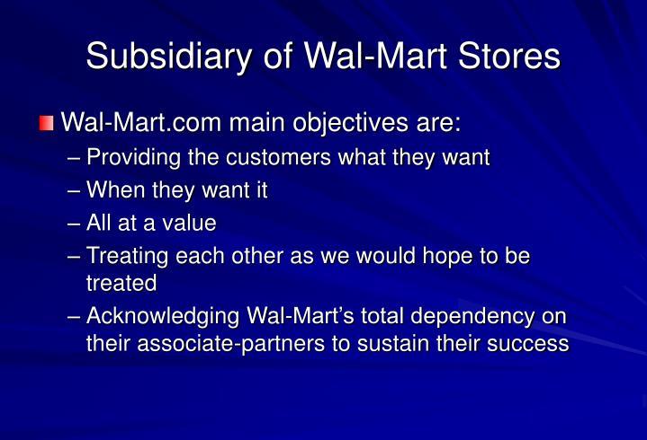 Subsidiary of Wal-Mart Stores