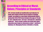 according to ethical or moral values principles or standards50