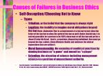 causes of failures in business ethics144