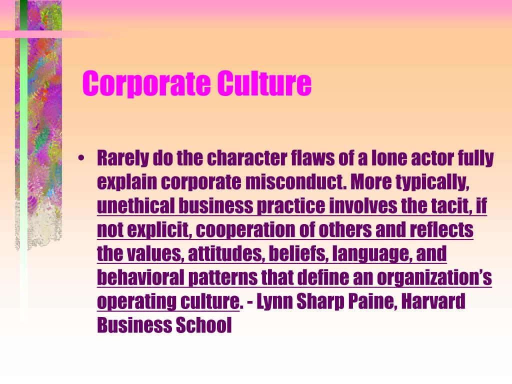 enron ethics and today s corporate values Story of corporate ethics  anderson, merrill lynch, enron, martha  programs matter less than broader perceptions of the program's orientation toward values.
