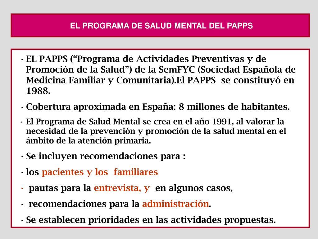 EL PROGRAMA DE SALUD MENTAL DEL PAPPS