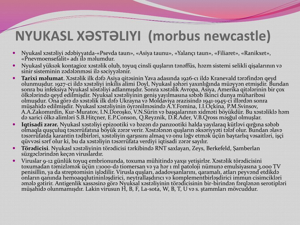 NYUKASL XƏSTƏLIYI  (morbus newcastle)
