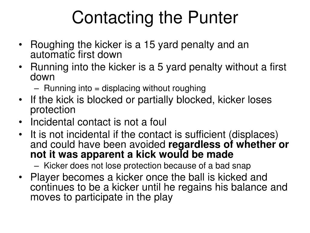 Contacting the Punter