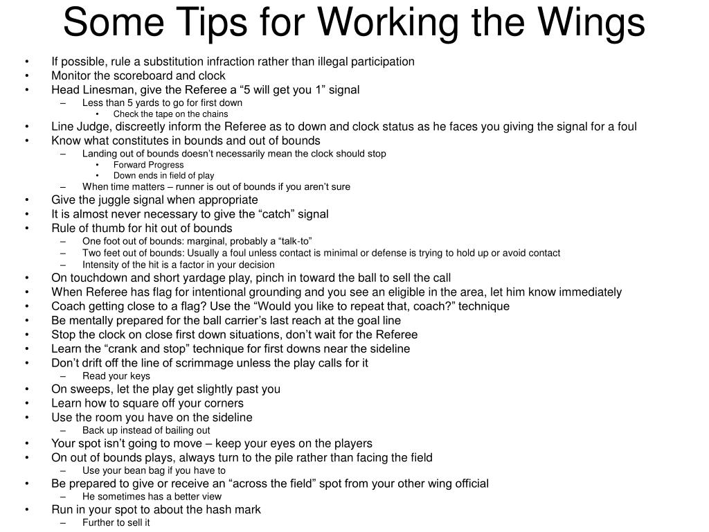 Some Tips for Working the Wings