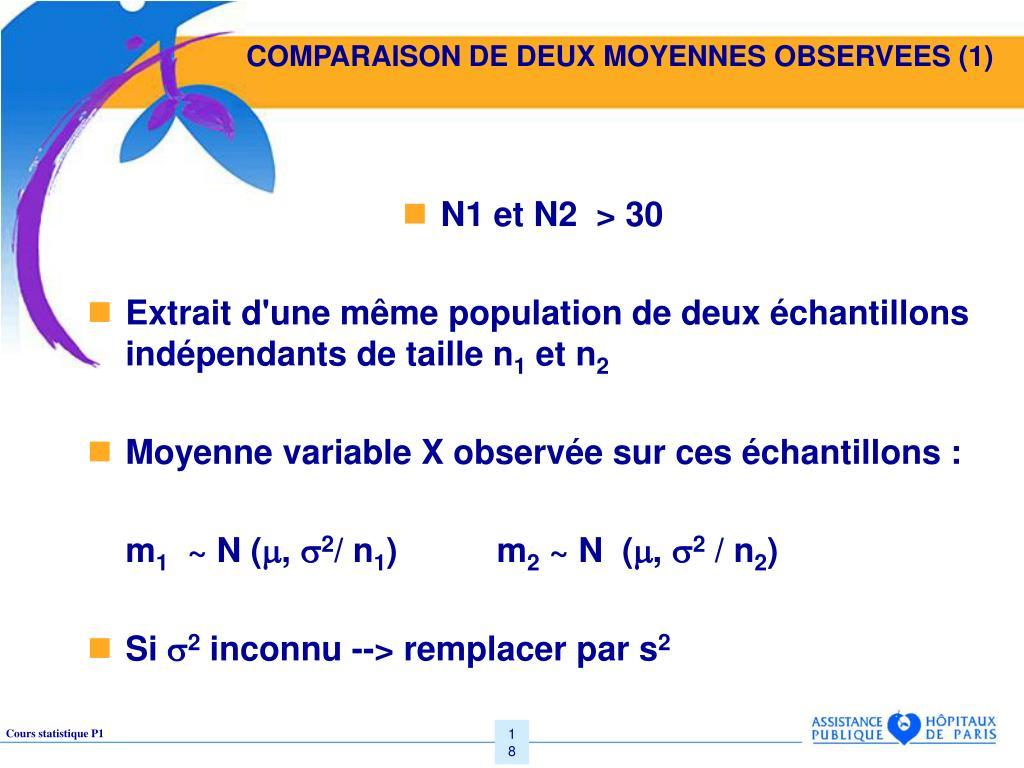 COMPARAISON DE DEUX MOYENNES OBSERVEES (1)