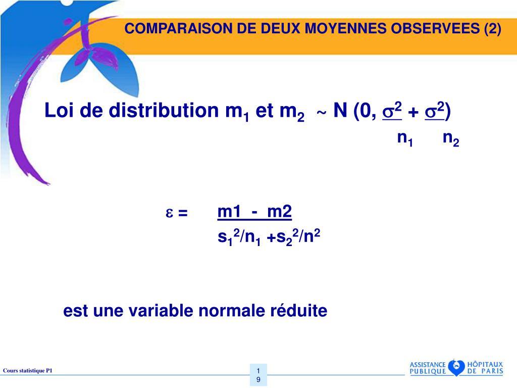 COMPARAISON DE DEUX MOYENNES OBSERVEES (2)
