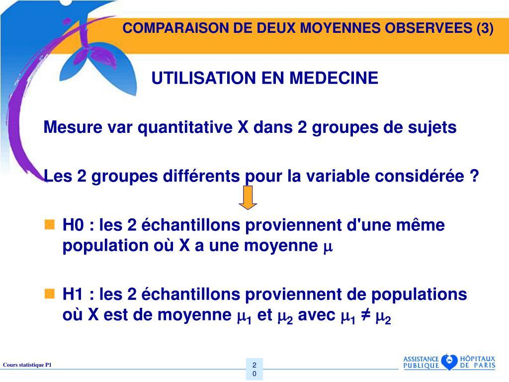 COMPARAISON DE DEUX MOYENNES OBSERVEES (3)