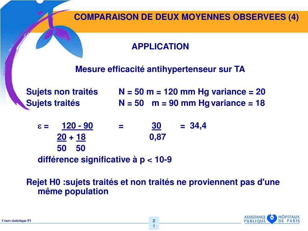COMPARAISON DE DEUX MOYENNES OBSERVEES (4)