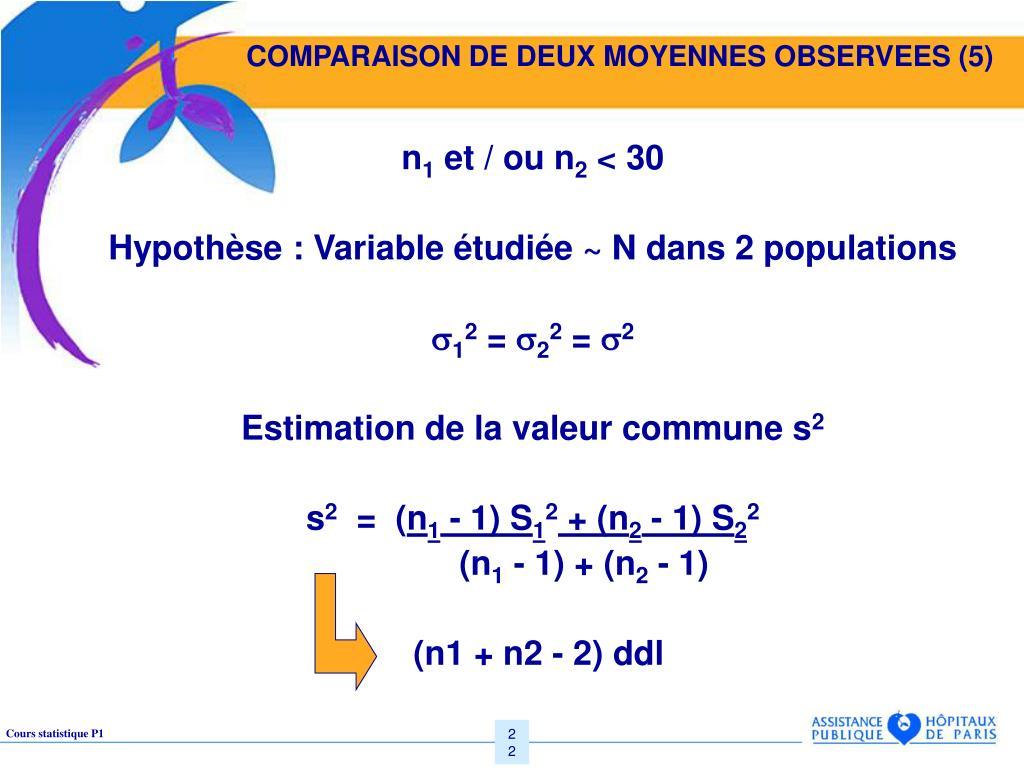 COMPARAISON DE DEUX MOYENNES OBSERVEES (5)