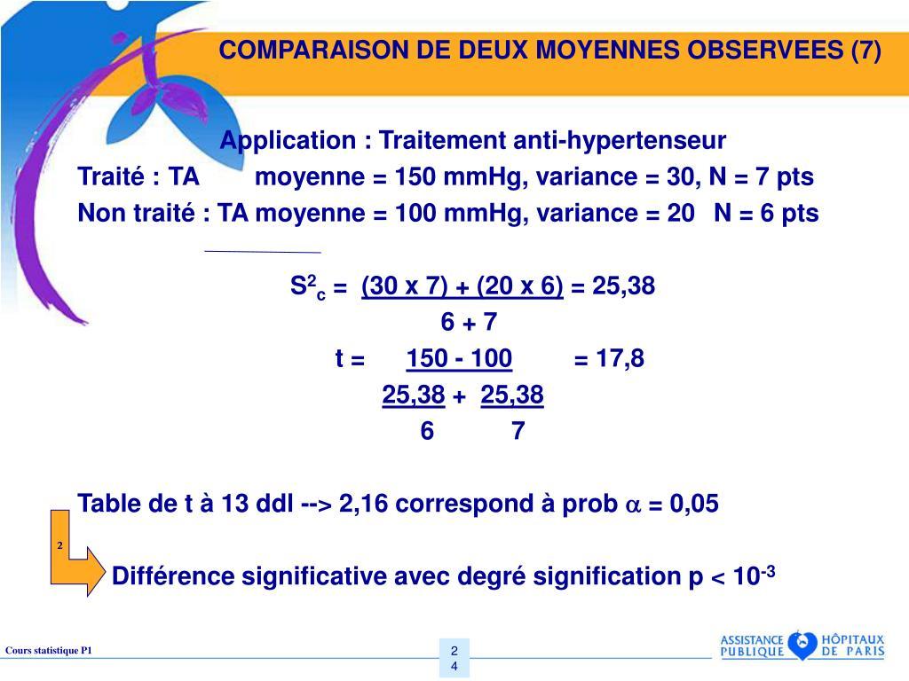 COMPARAISON DE DEUX MOYENNES OBSERVEES (7)